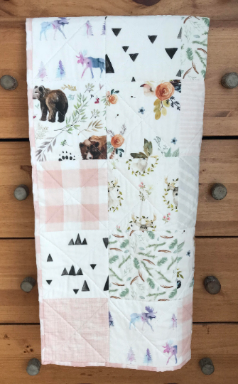 custom baby quilt bear woodland