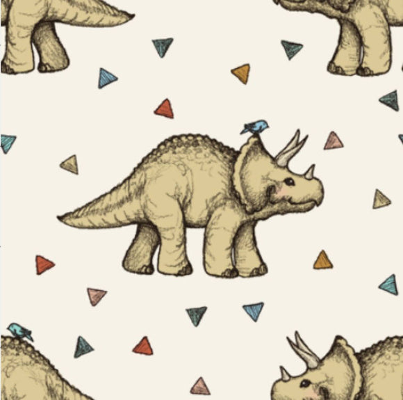Triceratops and Triangles Muslin Swaddle Blanket