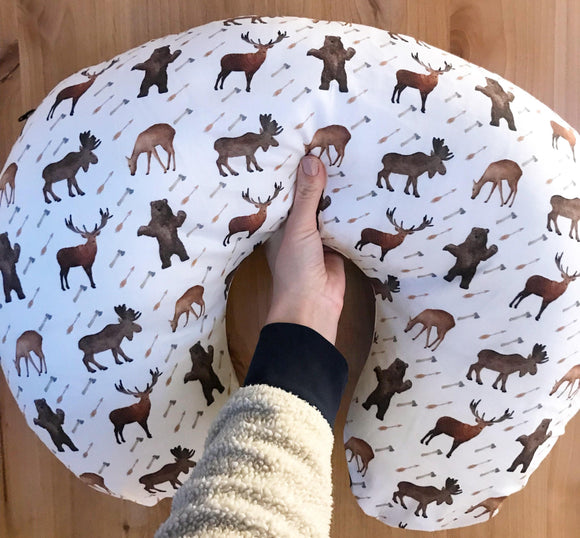 Woodland Deer Moose Elk Bear Boppy Cover