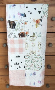 Baby Girl Woodland Whole Cloth Quilt