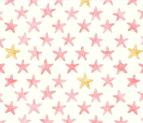 Pink Starfish Muslin Swaddle Blanket