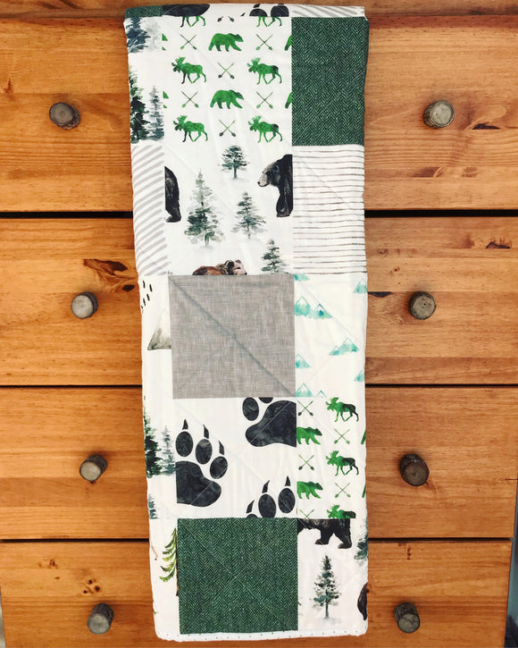 Green & Gray Bear Woodland Whole Cloth Quilt