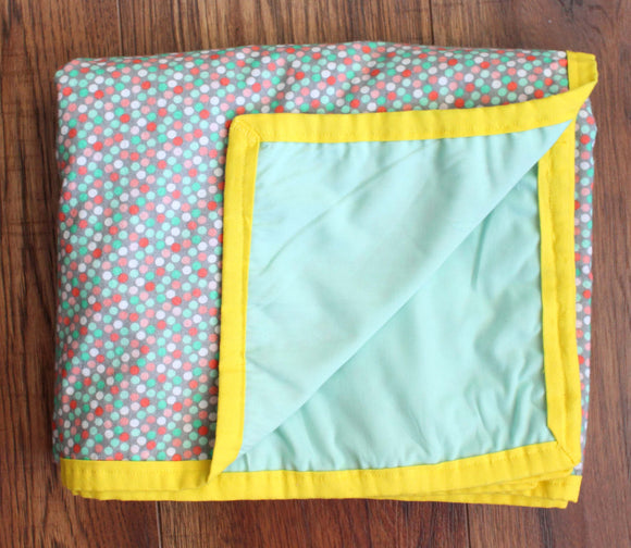 Mint Green & Pink Polka Dot Blanket