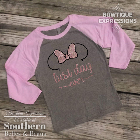 Minnie Mouse Best Day Ever Pink and Gray Raglan