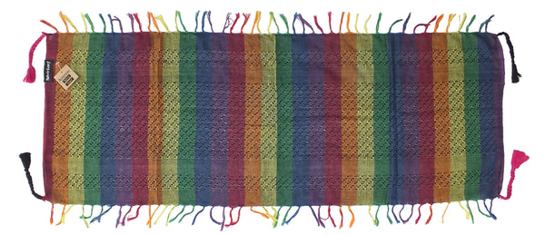 Artemis dark rainbow mini keffiyeh by Tahrir Scarf, full spread