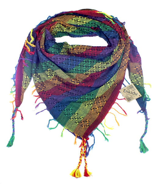 Enkidu rainbow keffiyeh by Tahrir Scarf in dark black (neck fold)