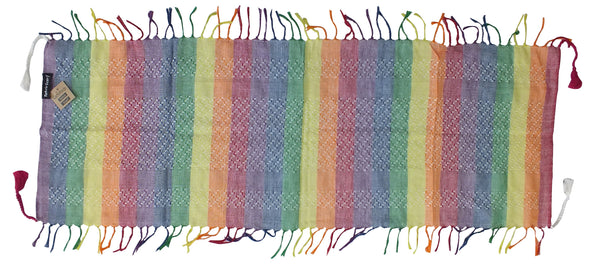 Ganemede pastel/faded rainbow mini keffiyeh by Tahrir Scarf, full spread
