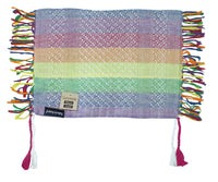 Ganemede pastel/faded rainbow mini keffiyeh by Tahrir Scarf, shipping fold