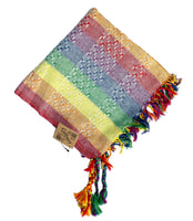 Gilbert pastel rainbow keffiyeh by Tahrir Scarf in white (shipping fold)