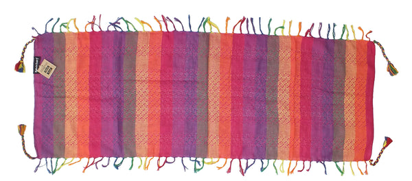 Magnus magenta rainbow mini keffiyeh by Tahrir Scarf, full spread