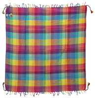 Pan rainbow keffiyeh by Tahrir Scarf in cyan, yellow, magenta and purple (full spread)