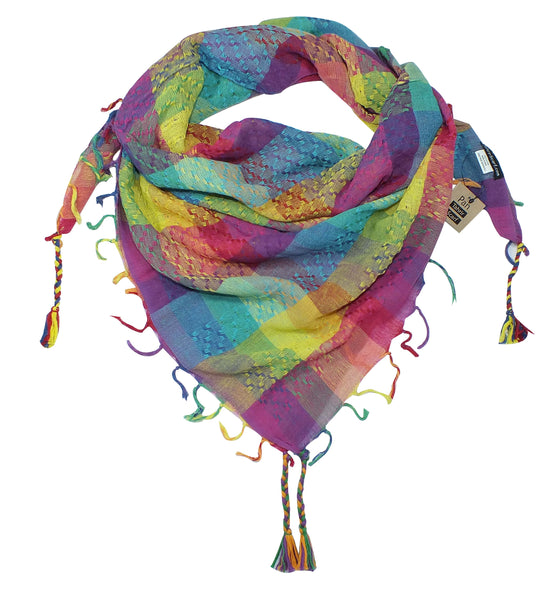 Pan rainbow keffiyeh by Tahrir Scarf in cyan, yellow, magenta and purple (neck fold)