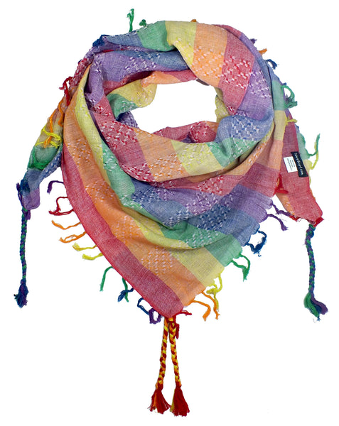 Slight Pink rainbow keffiyeh by Tahrir Scarf in warm colors (neck fold)