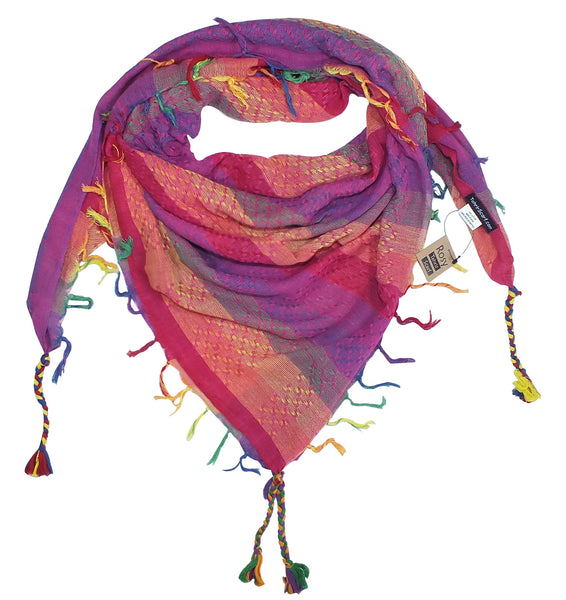 Rosy rainbow keffiyeh by Tahrir Scarf in hot pink magenta (neck fold)
