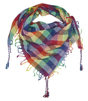 Victoria rainbow keffiyeh by Tahrir Scarf in red, white and blue (neck fold)