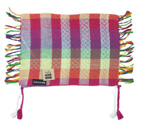 Yaffa pink and white rainbow mini keffiyeh by Tahrir Scarf, shipping fold