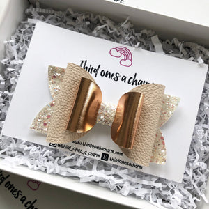 Rose Gold + White Glitter Bow