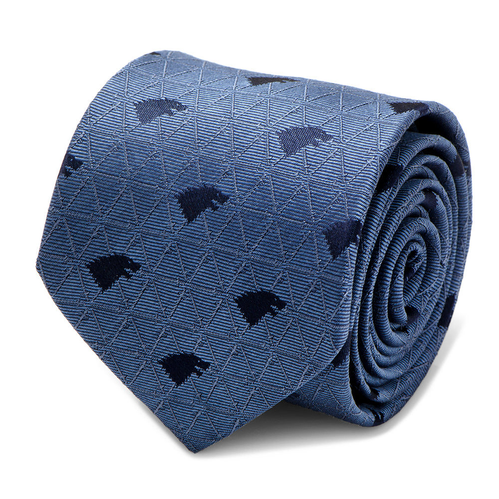 Stark Geometric Sword Blue Men's Tie from Game of Thrones