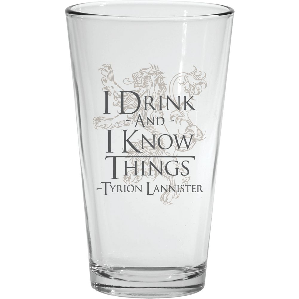 I Drink and I Know Things Pint Glass from Game of Thrones