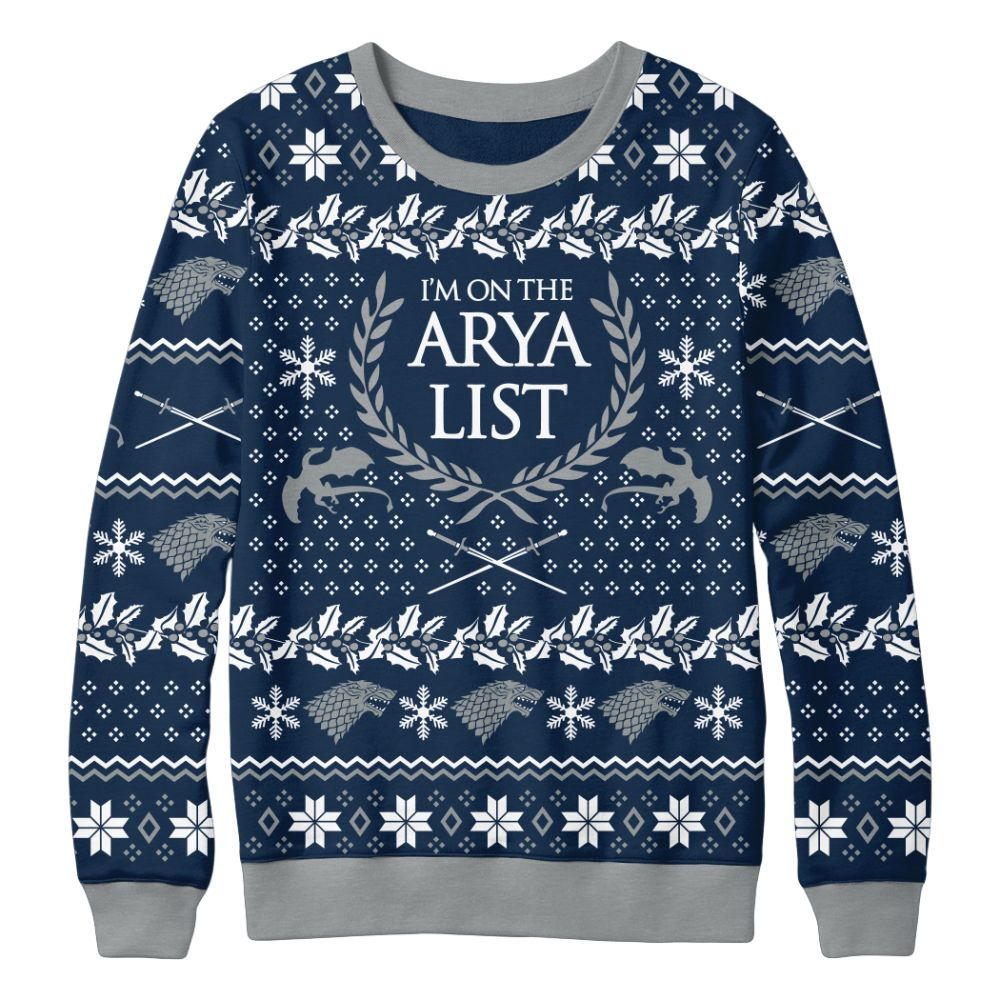 Arya List Christmas Sweater from Game of Thrones