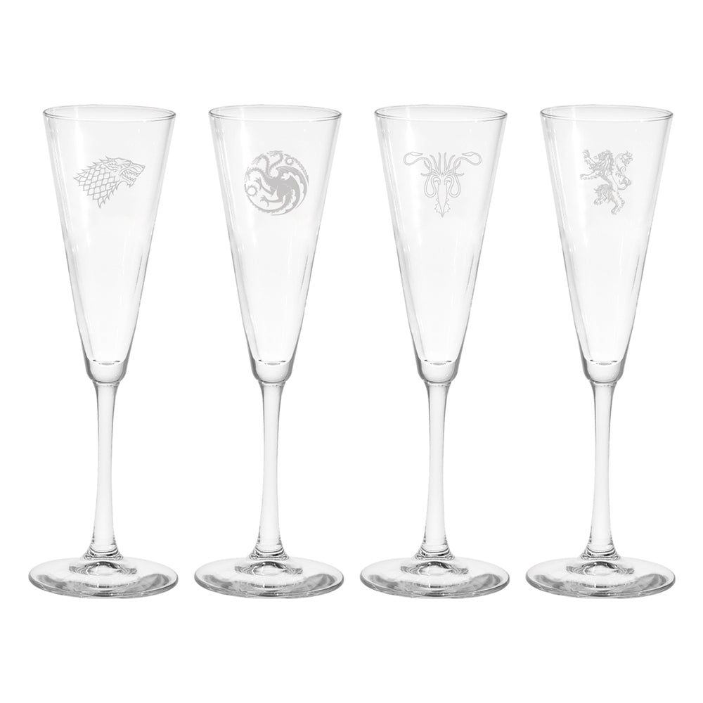 House Sigil Tapered Glass Champagne Flute Set from Game of Thrones