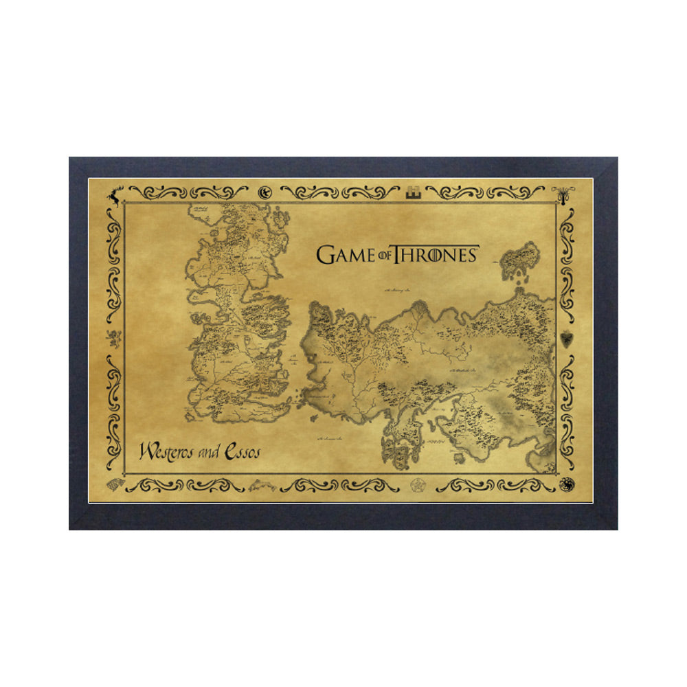 Antique Map Frame Print from Game of Thrones
