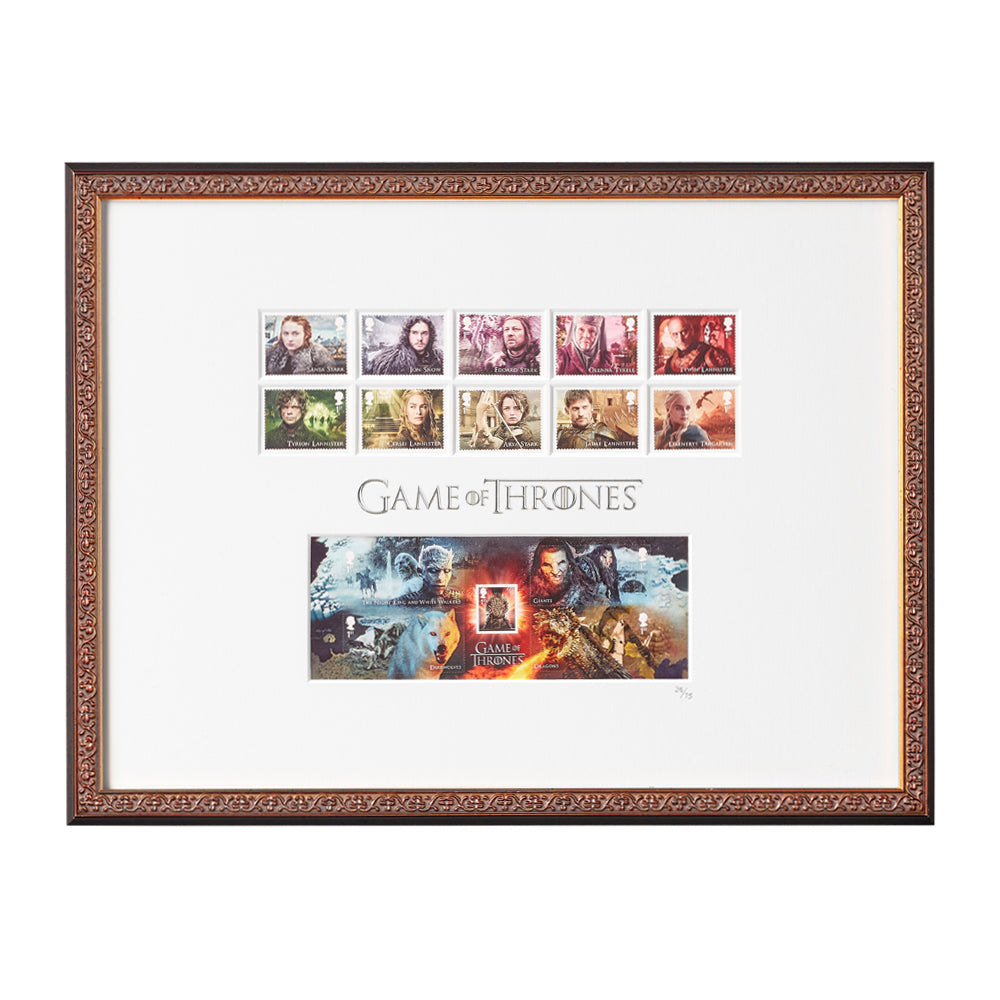 Framed Game of Thrones Limited Edition Stamp Collection from Royal Mail