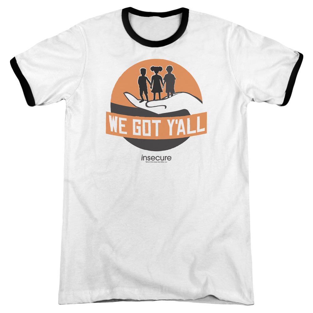 We_Got_Yall_White_and_Black_Ringer_Adult_TShirt_from_Insecure