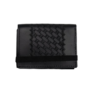 Embossed Basketweave Leather Wallet
