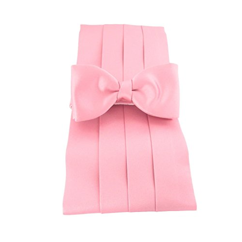 Rose Pink Satin Cummerbund & Pre-Tied Bow Set by Van Buck