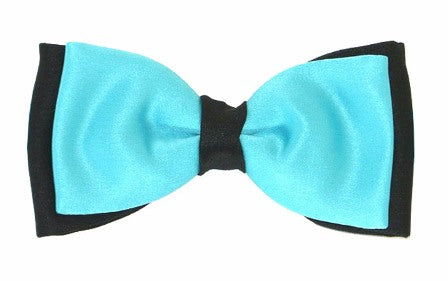 Aqua & Black Satin Two Tone Bow Tie by Van Buck