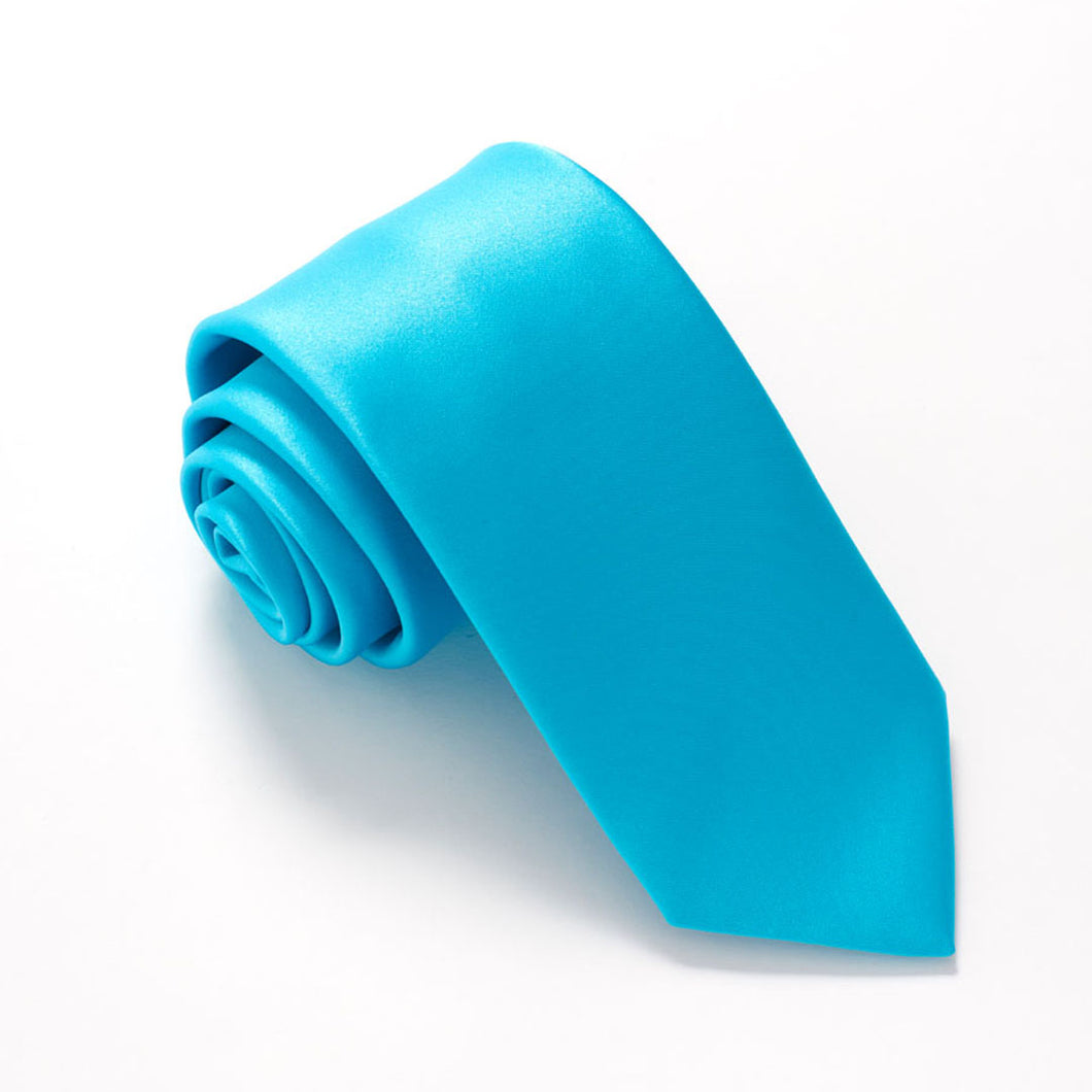 Aqua Satin Wedding Tie by Van Buck