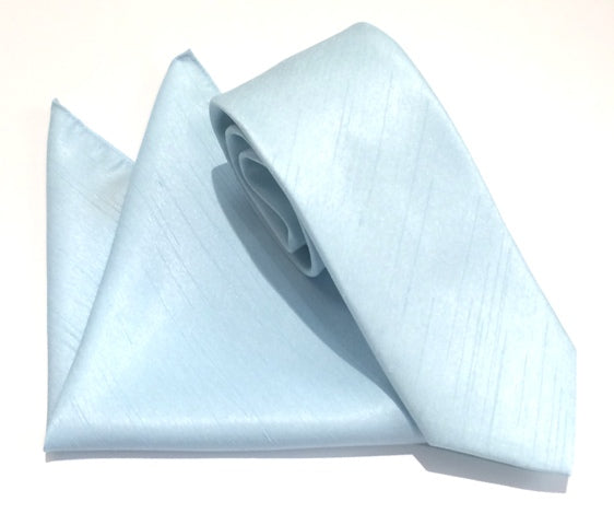 Aqua Plain Slub Tie & Pocket Square Set by Van Buck