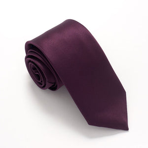 Dark Purple Satin Wedding Tie by Van Buck