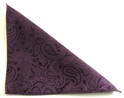 Aubergine Paisley Silk Pocket Square by Van Buck