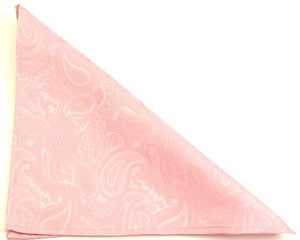 Baby Pink Paisley Silk Pocket Square by Van Buck