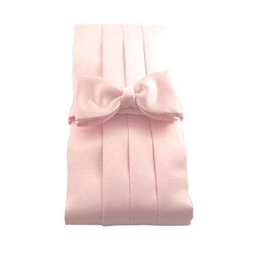 Baby Pink Satin Cummerbund & Pre-Tied Bow Set by Van Buck