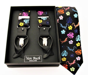 Limited Edition Black with Multicoloured Lizard Silk Tie & Trouser Braces Set