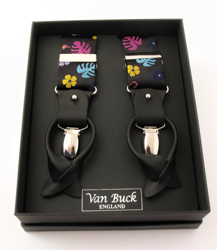 Limited Edition Black with Multicoloured Lizard Silk Braces