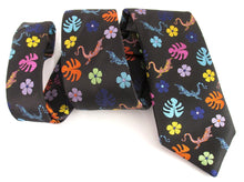 Van Buck Limited Edition Black with Multicoloured Lizard Silk Tie