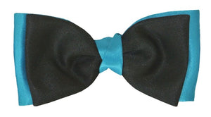 Black & Turquoise Satin Two Tone Bow by Van Buck