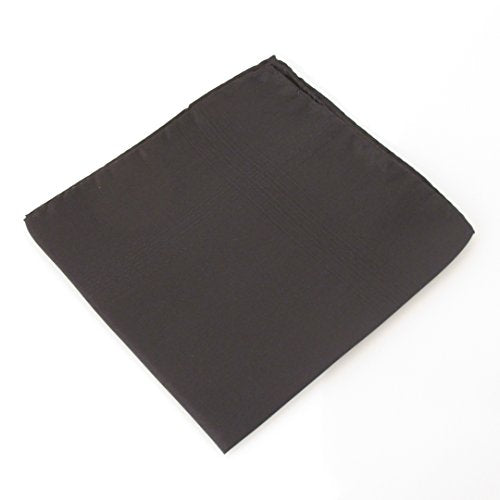 Black Plain Silk Pocket Square by Van Buck
