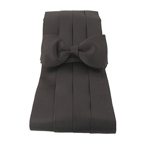 Black Satin Cummerbund & Pre-Tied Bow Set by Van Buck