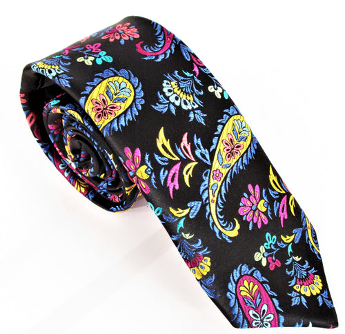 Limited Edition Black with Multicoloured Feathered Paisley Silk Tie by Van Buck