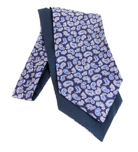 Navy Blue with Royal Detailed Paisley Fancy Silk Cravat by Van Buck