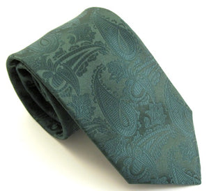 Bottle Green Paisley Wedding Tie By Van Buck