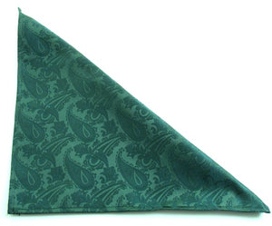 Bottle Green Paisley Pocket Square by Van Buck