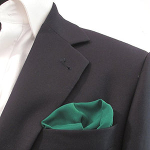 Bottle Green Plain Silk Pocket Square by Van Buck