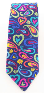 Van Buck Limited Edition Exclusive Bright Multicoloured Tear & Heart Silk Tie - front