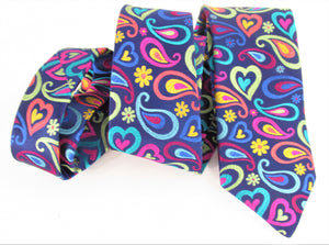 Van Buck Limited Edition Exclusive Bright Multicoloured Tear & Heart Silk Tie - wavy